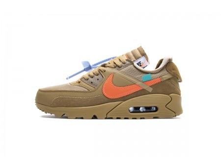 "OW OFF-WHITE x Nike Air Max 90 ""Desert Ore"" AA7293-200 Men Women"