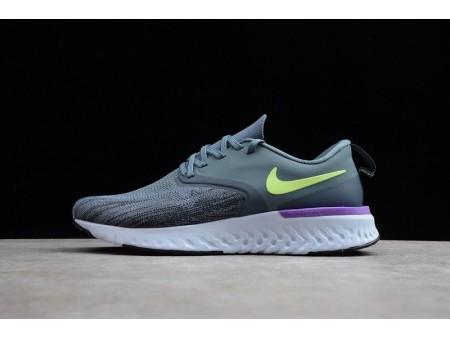 Nike Odyssey React 2 Flyknit DK Grey Fluorescent Green AH1015-401 for Men
