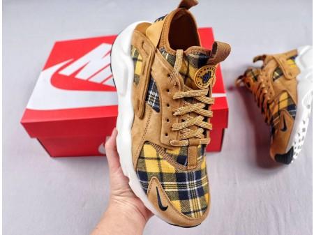 Nike Air Huarache Run Ultra Suede ID 4.0 Brown/Soil Yellow-White Plaid Shirt AH6809-700 Men Women