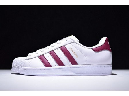 Adidas Superstar White BURGUNDY S81015 for Men and Women