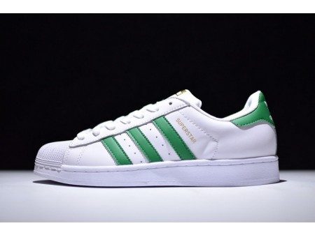 Adidas Superstar White/Green S81017 for Men and Women
