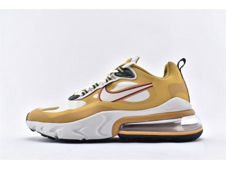 "Nike Air Max 270 React Reggae ""Gold Light Bone"" White Yellow/Grey AO4971-700 Men and Women"
