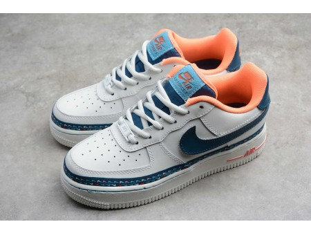 Wmns Nike Air Force 1 Low Swoosh Chain GS Summit White Blue Force CK9708-100 Women