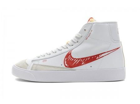 Nike Blazer Mid '77 Vintage Sketch Logo White Red CW7580-100 Men and Women