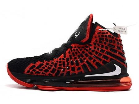 Nike LeBron 17 'Bred' Black/University Red-White Men Women