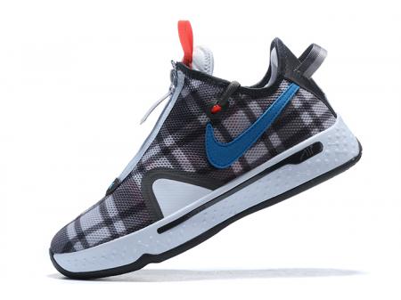 Nike PG 4 'Plaid' Football Grey/Laser Blue-Light Smoke Grey CD5079-002 Men