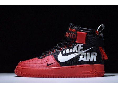 """12 O clock Boys X Nike Sf Air Force 1 Mid Qs """"Red Black White"""" for Men and Women"""