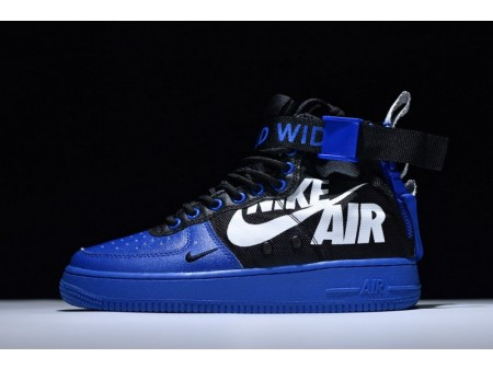 "12 O clock Boys X Nike Sf Air Force 1 Mid Qs ""Blue Black White"" for Men and Women"