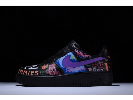 """Nike Air Force 1 Low """"Rock and Roll"""" Black Graffiti 923092-100 for Men and Women"""