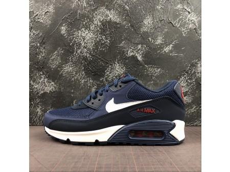 Nike Air Max 90 ESSENTIAL Minuit Marine Rouge université Blanche AJ1285-403 Homme