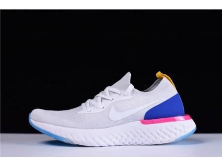 Nike Epic React Flyknit Blanche Racer Bleu AQ0067-101 pour homme et femme