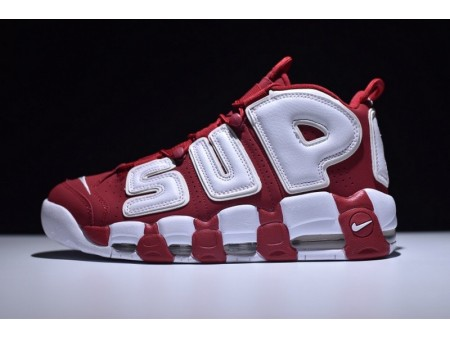 """Supreme X Nike Air More Uptempo Air """"Blanche Rouge"""" 902290-600 pour Homme"""