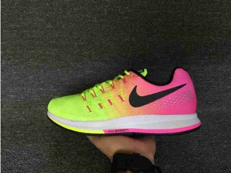 Nike Air Zoom Pegasus 33 Unlimited Olympic Collection Rose Jaune Vert 846327-999 pour Homme