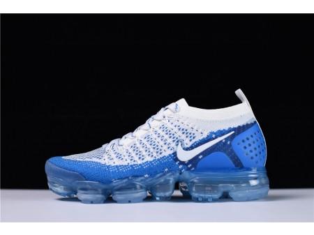 Nike Air VaporMax Flyknit 2.0 Bleu Blanc 942843-104 pour Homme et Femme