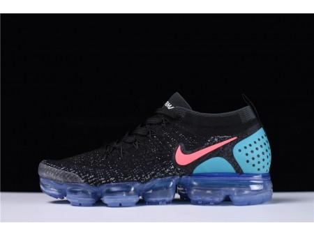 Nike Air VaporMax Flyknit 2.0 Noir Bleu Hot Punch 942842-003 pour Homme et Femme