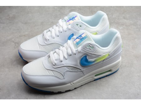 Nike Air Max 1 SE Juwel Swoosh Weiß Blau Limettenstrahl AO1021-101 Herren