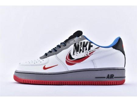 Nike Air Force 1 '07 Low Stickerei Logo Grau Weiß Blau Rot AO2441-100 Herren Damen