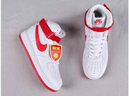 """Nike Air Force 1 High """"NAI KE"""" Weiß Rot Retro QS Herren Damen 743546-100"""