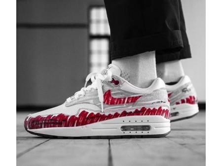 "Nike Air Max 1 ""Skizze zum Regal"" Weiß Universität Rot CJ4286-101 Herren"