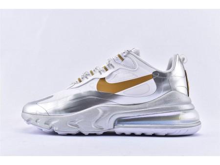 Nike Air Max 270 React Stadt der Geschwindigkeit Weiß-Metallic Silber CQ4597-110 Herren und Damen