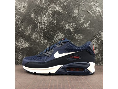 Nike Air Max 90 ESSENTIAL Midnight Marino Rojo Universidad Blanco AJ1285-403 Hombres