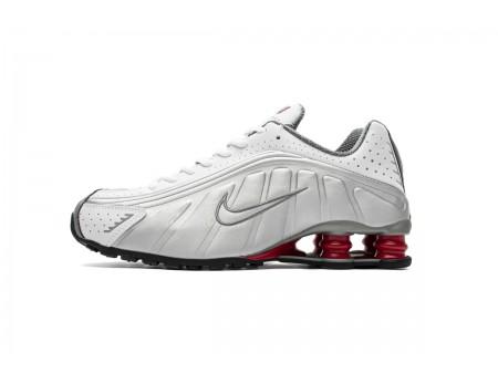 Nike Shox R4 Blanco Plata Comet Rojo BV1111-100 Hombres Mujeres