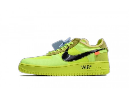 """Off White x Nike Air Force 1 Low """"Volt"""" 2.0 Hombres y Mujeres"""
