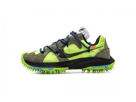 Off White X Nike Zoom Terra Kiger 5 OW Blanco Electric Verde CD8179-300 Hombres Mujer
