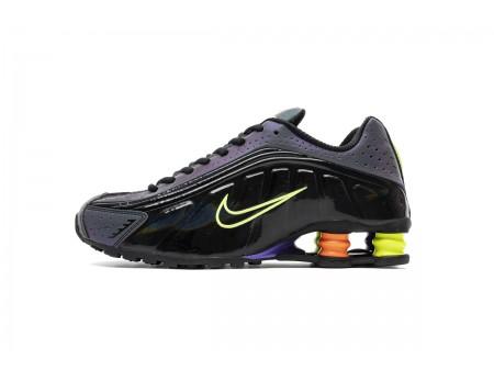 Nike Shox R4 Negro Neon Volt Total Naranja CI1955-074 Hombres Mujeres