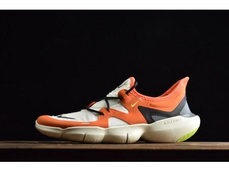 Nike Free Rn 5.0 Bajo Blanco Amarillo Negro 2019 AQ1289-105 Hombres