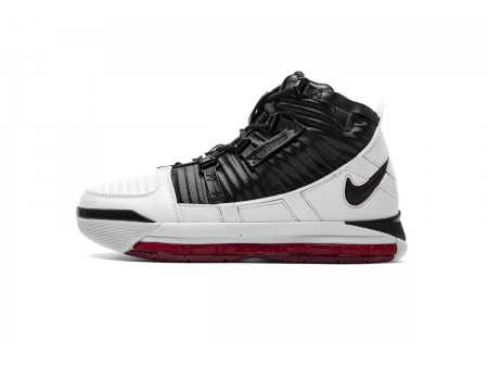 "Nike Zoom Lebron III QS ""Home Release"" Blanco Negro/Deep Rojo Campus AO2434-101 Hombres"