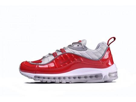 Supreme x Nike Air Max 98 Big Varsity Rojo Light Gris 844694-600 para Hombres