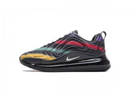 "Nike Air Max 720 ""Neon Preto"" Prata AR9293-023 Homens Mulheres"