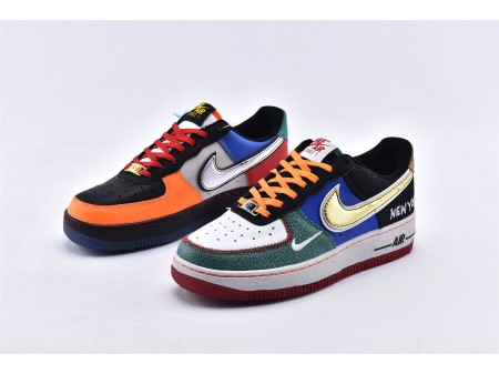 "Nike Air Force 1 Low '07 LV8 ""What The NYC"" Branco/Preto Total Laranja CT3610-100 Homens Mulheres"