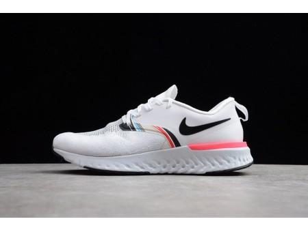 Nike Odyssey React 2 Flyknit Branco Preto Pêssego Hyper Rosa AV2608-146 Mulheres