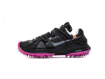 Off White X Nike Zoom Terra Kiger 5 OW Preto Roxo CD8179-001 Homens Mulheres