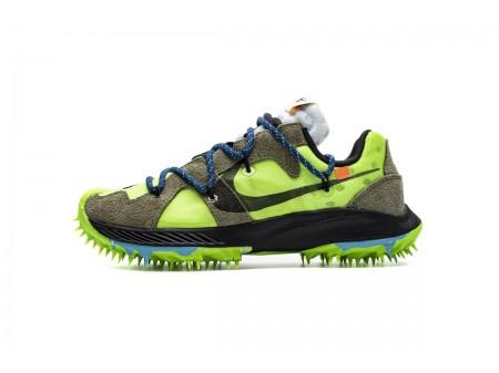 Off White X Nike Zoom Terra Kiger 5 OW Branco Elétrico Verde CD8179-300 Homens Mulheres