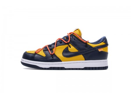 Tênis Nike Dunk SB Low Lthr/OW Michigan University Dourado Branco Azul CT0856-700 Homens