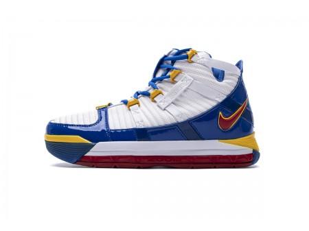 Nike Zoom Lebron III QS Branco Azul Amarelo AO2434-110 Homens