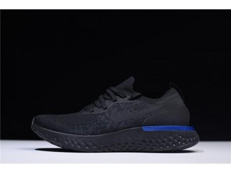 Nike Epic React Flyknit Preto Racer Azul AQ0067-004 para Homens
