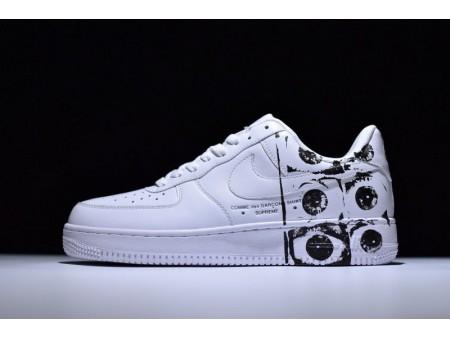 Supreme X Cdg X Nike Air Force 1 Af Seis Olhos Branco 923044-100 para Homens e Mulheres