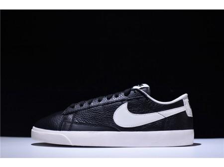 Nike Blazer Low Premium Leather Retro Preto Branco 454471-004 para homens e mulheres