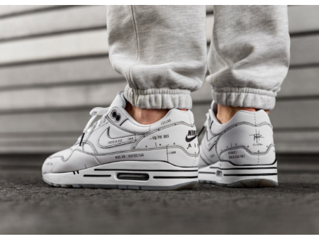 """Nike Air Max 1 """"Schematic Not For Resale"""" Wit CJ4286-100 Heren"""