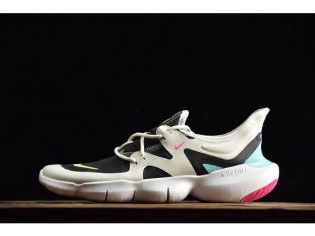Nike Dames Free Rn 5.0 Sail Thunder Grijs Aurora Volt 2019 Dames AQ1316-100