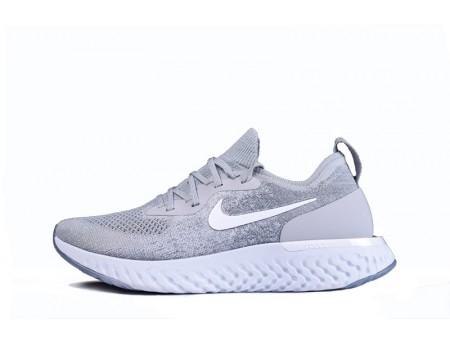 Nike Epic React Flyknit Wolf Grijs AQ0070-002 voor heren en dames