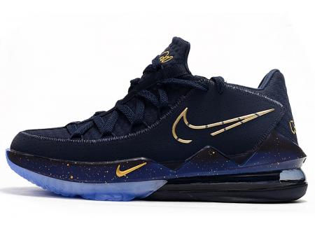 Nike LeBron 17 Low 'Agimat' Obsidian/Metallic Gouden-Blauw Force Heren