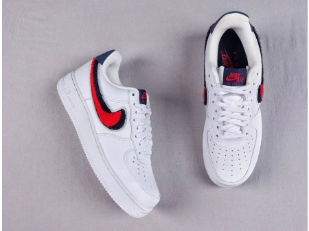 Nike Air Force 1 '07 LV8 Low Chenille Swoosh Bianco Rosso Blu Uomo Donna 823511-106